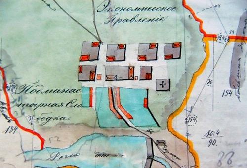 Фрагмент плана Подмонастырской слободы города Ельца (1779 г.)